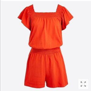J Crew Smocked Square Neck Romper